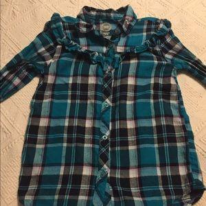 Wonder Nation teal plaid shirt